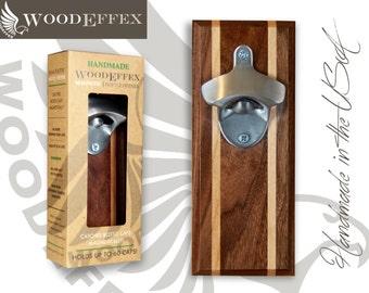 Bottle Opener Magnetic Cap Catcher - Handcrafted Walnut Wood & Alder Inlay with Brushed Nickel Opener (No Personalization)
