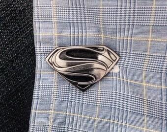 Superman Man of Steel Superhero Pewter Cufflinks (one pair)