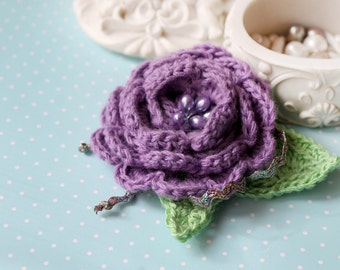 Purple cochet  Brooch, crochet brooch, flower brooch, crochet flower, knitted brooch