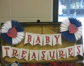 Baby Treasures Banner and Wall Decoration with 2 Decorative Pleated Rosette Wheels