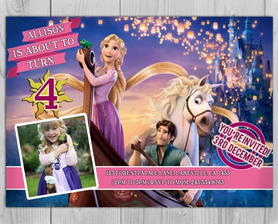 Rapunzel Invitation,Tangled Birthday Invitation, Tangle Rapunzel Birthday Invitations customized with photo
