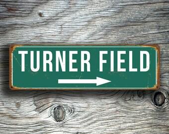 TURNER FIELD STADIUM Sign, Vintage style Turner Field Sign, Turner Field Signs, Home of the Atlanta Braves, Baseball Signs, baseball Gifts