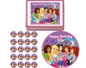 Lego Friends Edible Birthday Party Cake Cupcake Or Cookie Topper Decoration