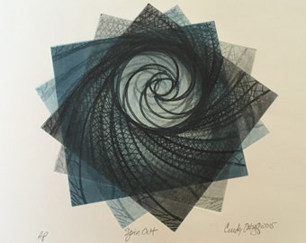Spinout:  Large square abstract etching