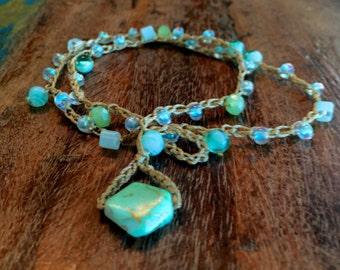Tranquil Seafoam Beaded Crochet Bracelet or Lariat Necklace