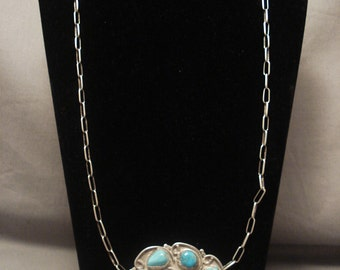 Hvy Old Navajo 1950's Turquoise Silver Necklace