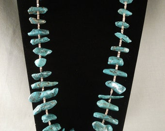 Chunky Old Navajo Turquoise Nugget Necklace