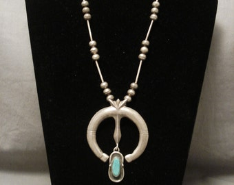 Very Old Navajo Naja Turquoise Silver Necklace