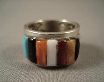 Extremely Detailed Vintage Navajo Adakai Silver Ring
