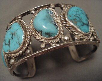 Chunky Old Navajo Nlue Turquoise Silver Rbacelet- For Large Wrist
