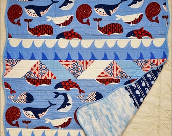Red, White and Blue Nautical Whale Baby Quilt- Baby Quilt - Baby Boy's Quilt - Whale Quilt - Custom Made Quilt - Handmade Quilt