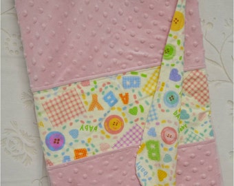 Pink Minky Blanekt with Baby and Buttons Flannel Back, 39 x 39 in. Square, Minky Blanket, Baby Girl Minky Blanket