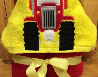 Tractor hooded towel  - Embroidering option