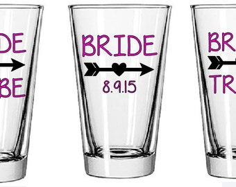 Bridal Party Glasses- Bachelorette Party Glasses- Wedding Party Gift- Personalized Glasses- Unique Gift
