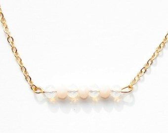Sale -20% 16k gold plated necklace with beige/white faceted beads