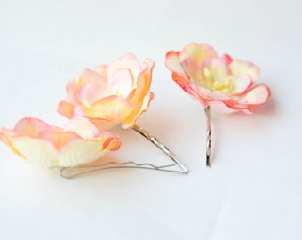 Bridal hair clips, Yellow Red magnolia pins, Wedding flower pins,  Yellow Red magnolia bobby pins - set of three