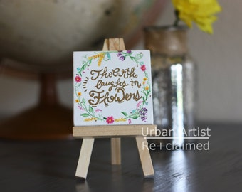 Floral canvas, hand painted with mini easel