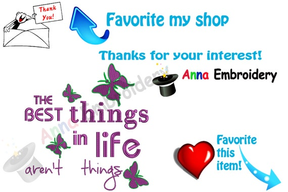 Life quotes embroidery design the best things in aren