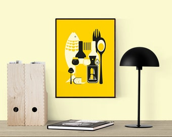kitchen yellow | printable poster | 8x10 inches