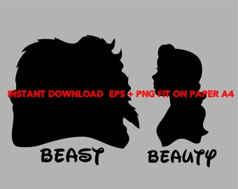 beauty and the beast, Clip Art,T shirt, iron on, sticker, Vectors files,couple clipart