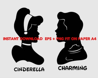 cinderella and charming, Clip Art,T shirt, iron on, sticker, Vectors files,couple clipart