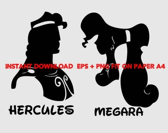 hercules and megara, Clip Art,T shirt, iron on, sticker, Vectors files,couple clipart