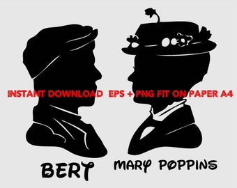 Mary poppins and Bert, Clip Art,T shirt, iron on, sticker, Vectors files,couple clipart