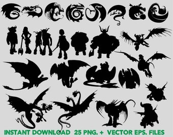 How to train your dragon Silhouettes clipart, Clip Art,T shirt, iron on, sticker, Vectors files,couple clipart