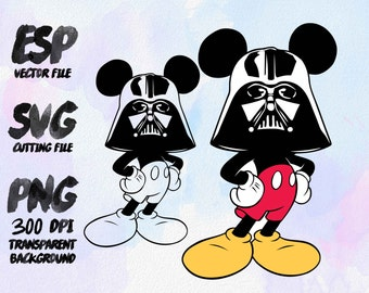 Mickey Darth Vader Star wars Clipart , SVG Cutting , ESP Vectors files , T shirt , iron on , sticker ,Personal Use