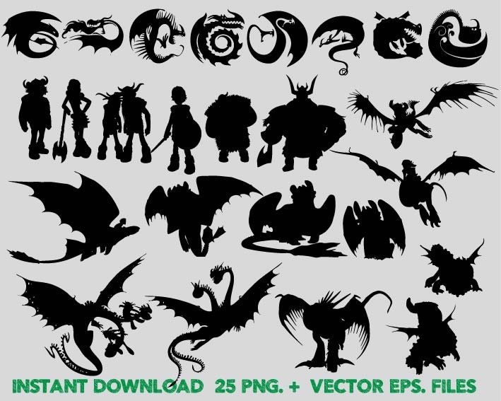 How to train your dragon Silhouettes clipart Clip ArtT