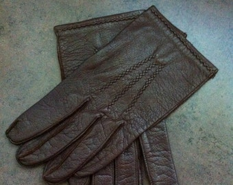 Vintage Mens Gloves - Genuine Brown Leather - Buttery Soft Leather Driving Gloves - Gift for Him