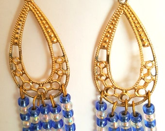 Gold and Blue Chandelier Earrings