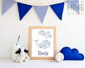 Personalised Whale Name Print - Digital Printable Download, Print Your Own - Custom Nursery Wall Art - Nautical/Ocean Theme