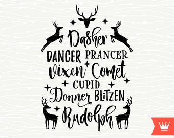 Reindeer Names Christmas SVG Decal Cutting File Merry Christmas Reindeer Transfer for Cricut Explore, Silhouette Cameo, Cutting Machines