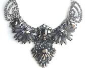 Dark Grey Statement Necklace, Crystal Luxury Necklace, Dark Color Bold Statement Necklace, Tribal