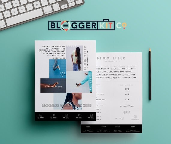 Two page media kit template press kit template by bloggerkitco for Free electronic press kit template