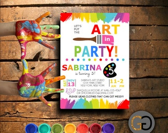 Printable Art Party Birthday Invitation