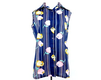 Vintage 40s 50s Floral Striped Blue Button Up Sleeveless Women's Blouse Size Medium 34