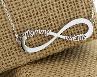 Infinity Name Necklace,Mommy And Me,Two Name Necklace,Personalized Necklace,Mothers Day Gift,.925 Sterling Silver,Personalized Pendant.