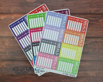 Weekly Meal Plan Planner Stickers, For use with Erin Condren Life Planner, Plum Paper Planner