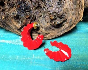 VINTAGE: Vintage 80's Oversized Red Half Moon  Pierced Earrings.{D1-115#00294}