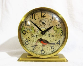 Westclox Early Bird animated alarm clock Rockin' Robin 1930s