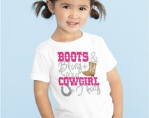 Cowgirls Rule - Bling Cowgirl Shirt - Boots and Bling it's a Cowgirl Thing - Rodeo Girl - Baby Riding Queen - Cowgirl Birthday Girl Shirt
