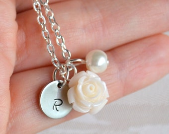 Ivory necklace Bridesmaid gift Necklace with rose Ivory Personalized jewelry with initial Ivory Flower girl jewelry Bridesmaid necklace