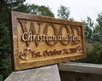 Personalized Wedding Gift Last Name Established Sign Family Name Signs Custom Wood Sign Carved Wood Sign Couple Anniversary Gift