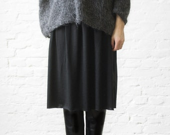 soft wool skirt,black wool jersey skirt