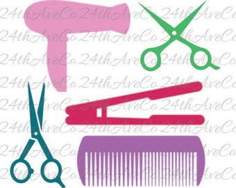Hair dresser .DXF .SVG  .PDF .Png, Cut File, Digital File, Silhouette Studio, Cricut, Hair, Scissors, Flat Iron, Comb