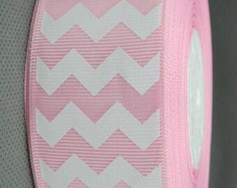 "50 Yards LIGHT Pink Chevron Print Grosgrain Ribbon 1"" (25mm) - Bulk, FREE SHIPPING - Hair Accessory Crafting Hair Bows Wedding Party"
