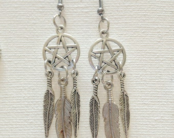 Dreamcatcher Pentacle Earrings  ( Free Shipping in USA )MWCDPE001