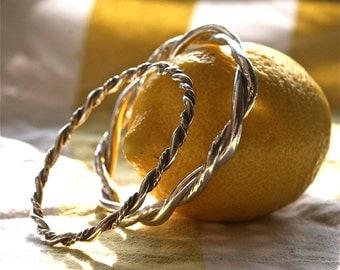 Heavy Double Twist Bangle Bracelet